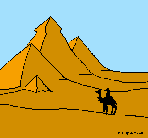 Coloring page Landscape with pyramids painted byoataz