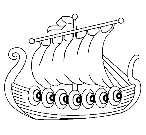 Coloring page Viking boat painted byemel