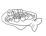 Coloring page Sushi painted byemel