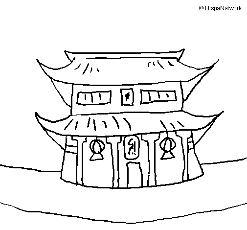 Coloring page Japanese temple painted byemel