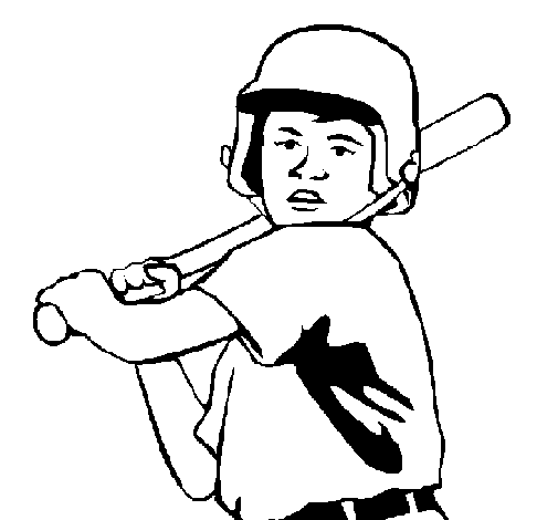 Coloring page Little boy batter painted bygfdg