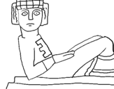 Coloring page Chac Mool statue painted byJuan