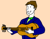 Coloring page Classical guitarist painted bycarmen