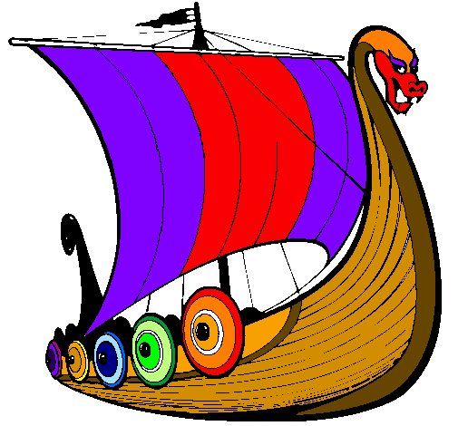 Coloring page Viking boat painted bykelan