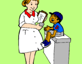 Coloring page Nurse and little boy painted byThieli