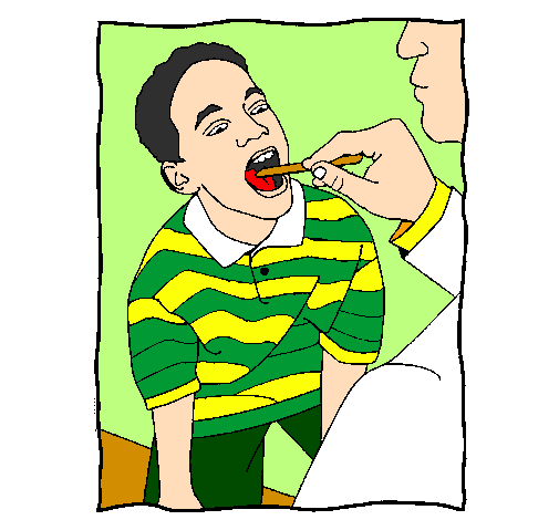 Coloring page Throat examination painted byThieli