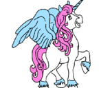 Coloring page Unicorn with wings painted byChantelle