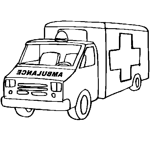 Coloring page Ambulance painted bycv
