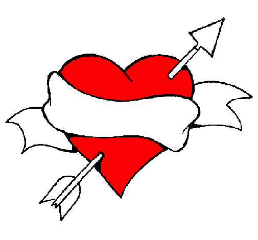 Heart, arrow and ribbon