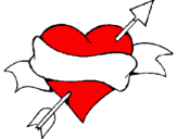 Coloring page Heart, arrow and ribbon painted bysnupy