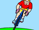 Coloring page Cyclist with cap painted by~ Lejla  ~
