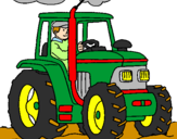 Coloring page Tractor working painted bybumhole