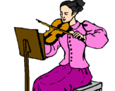 Coloring page Female violinist painted bymiriã