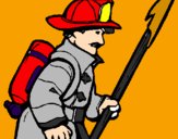 Coloring page Firefighter painted bywagner