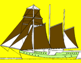 Coloring page Sailing boat with three masts painted byndhbhbfdhfbdhvbdhv