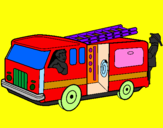 Coloring page Firefighters in the fire engine painted byJESUS