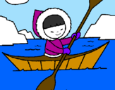 Coloring page Eskimo canoe painted bylalachica