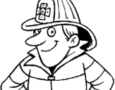 Coloring page Firefighter painted byeli