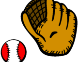 Coloring page Baseball glove and baseball ball painted by`jey