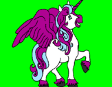 Coloring page Unicorn with wings painted byDora