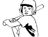 Coloring page Little boy batter painted byBatter