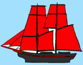 Coloring page Sailing boat painted byrex