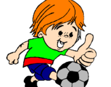 Coloring page Boy playing football painted byaLAW