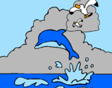 Coloring page Dolphin and seagull painted byKK