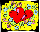Coloring page Hearts and flowers painted byjeg elsker dig