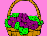 Coloring page Basket of flowers 6 painted byahad
