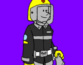 Coloring page Firefighter painted bykelan