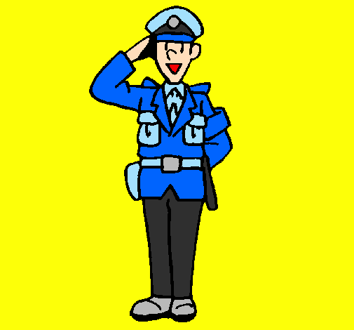 Police officer waving
