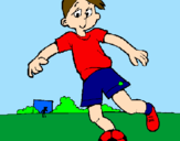 Coloring page Playing football painted byBrayan