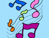 Coloring page Musical notes on the scale painted byMARILIZA