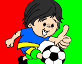Coloring page Boy playing football painted byhriday