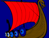 Coloring page Viking boat painted byLOUIS