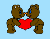 Coloring page Bears in love painted bylovee
