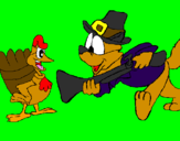 Coloring page Pilgrim and turkey painted byMORGAN EL BROMISTA