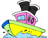 Coloring page Boat at sea painted byHei Hei