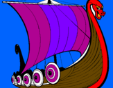 Coloring page Viking boat painted by boaz and lily bro sis
