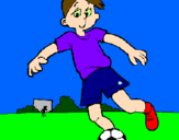 Coloring page Playing football painted byIvan