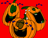 Coloring page Pumpkins painted bylobo