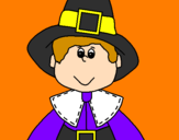 Coloring page Pilgrim boy painted byaa