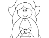 Coloring page Pilgrim girl painted byguille