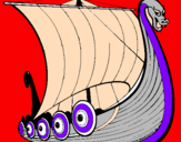 Coloring page Viking boat painted bydorviking