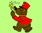 Coloring page Bear trumpet player painted byJUAN DAVID