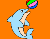 Coloring page Dolphin playing with a ball painted byuuiprf