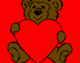 Coloring page Bear in love painted byAna