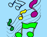 Coloring page Musical notes on the scale painted byemoly