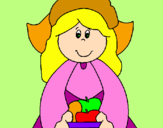 Coloring page Pilgrim girl painted byjaqueline